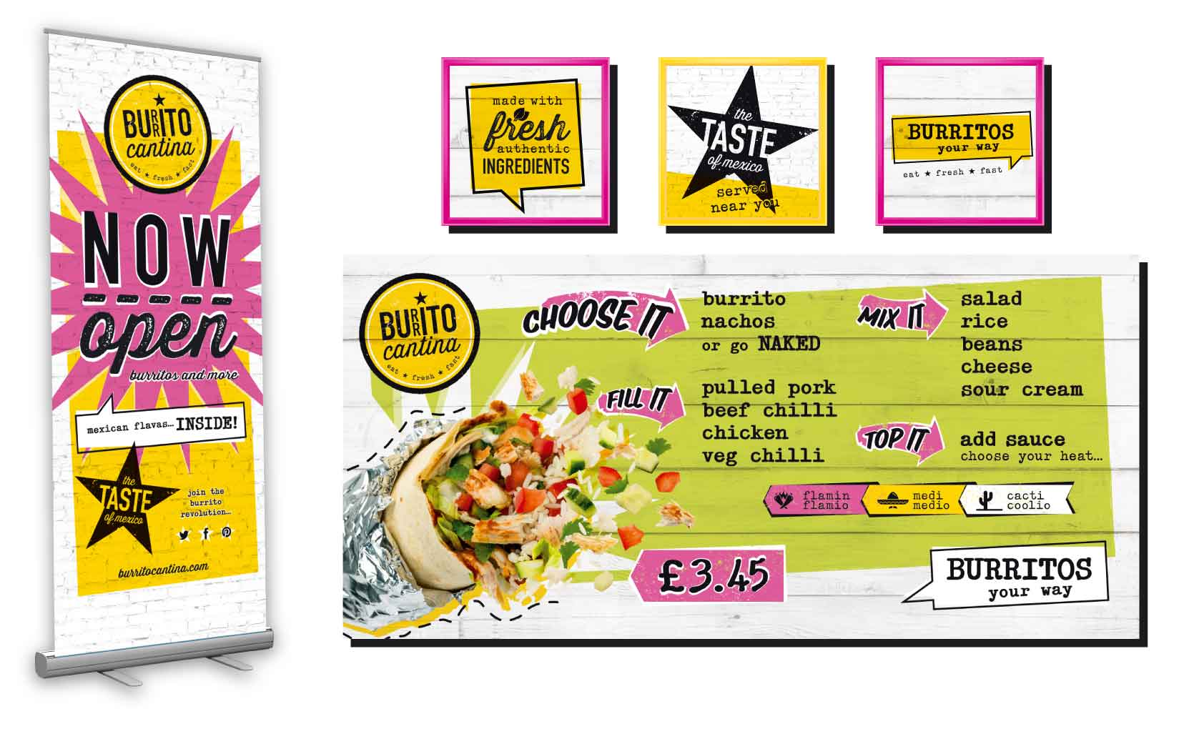 internal pos signage for burrito cantina brand