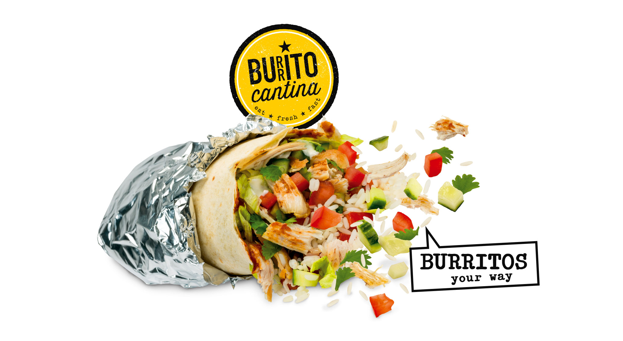 freshly prepared chicken burrito