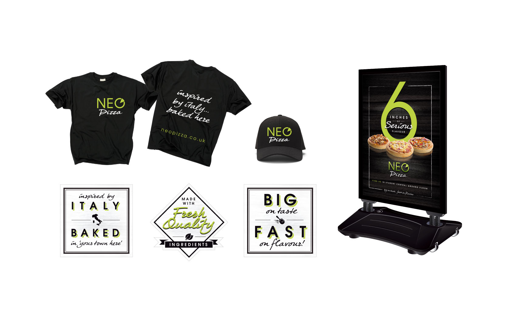 internal pos signage for neo pizza brand