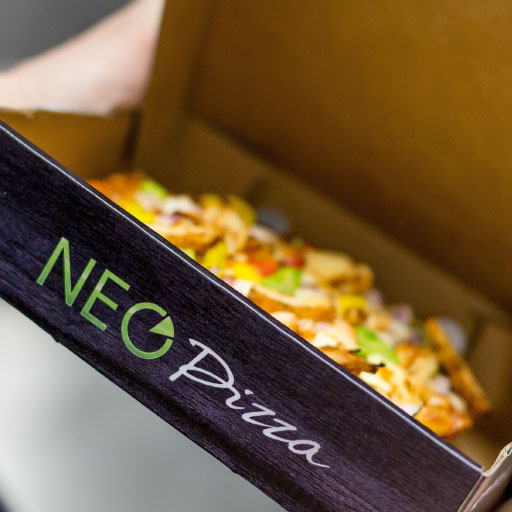 neo pizza takeaway branded box