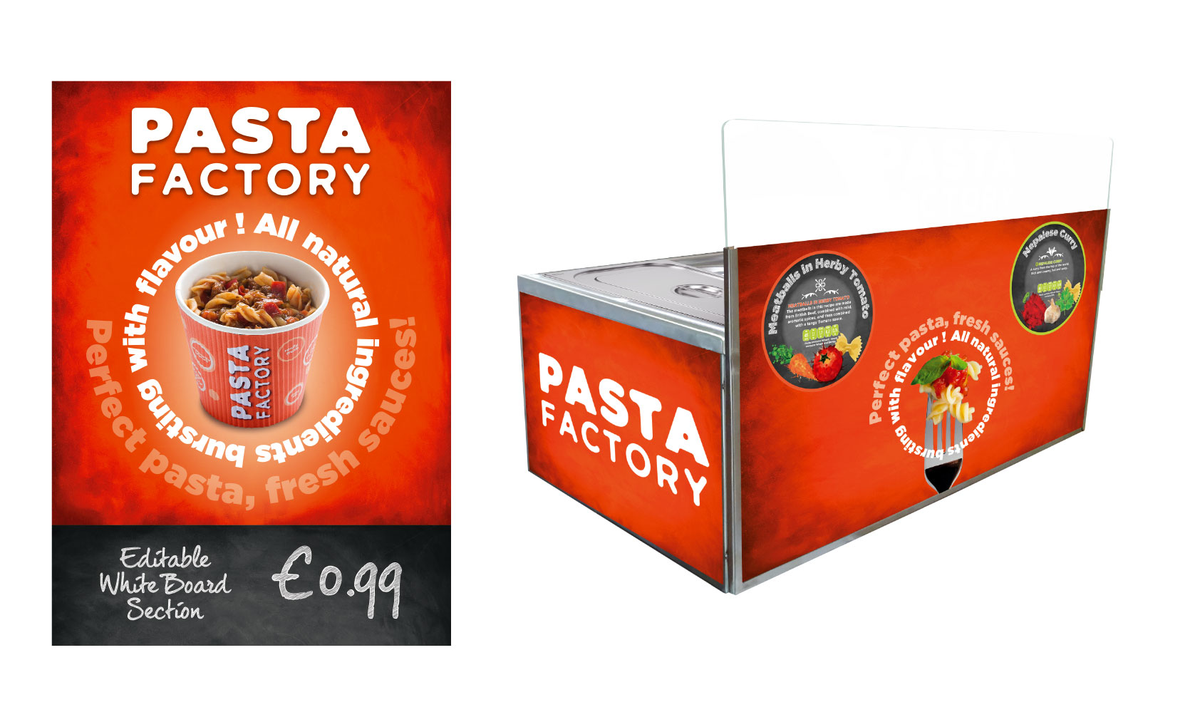 internal pos signage for pasta factory brand